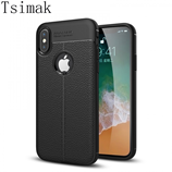 Black Luxury Leather Soft Silicon iPhone X Case